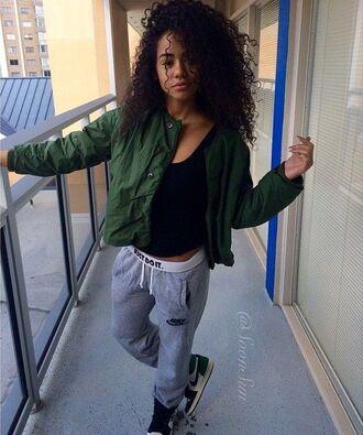 jacket green olive green nike nike sweatpants air jordan air jordan 1 curly hair pretty girl tumblr outfit tumblr tumblr girl pants belt