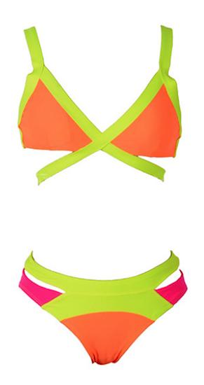 Sexy Mina Celebrity Strappy Cut Out Bandage Bikini - Orange & Green
