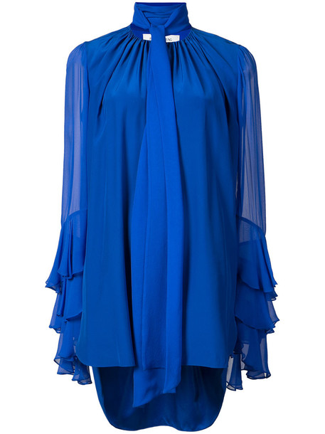 blouse women blue silk top