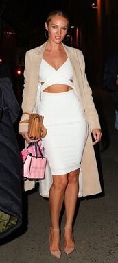 dress,bodycon dress,pumps,coat,white dress,candice swanepoel,shoes
