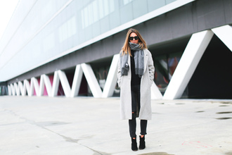clochet blogger coat sweater jeans sunglasses bag shoes scarf grey coat winter outfits ankle boots skinny jeans