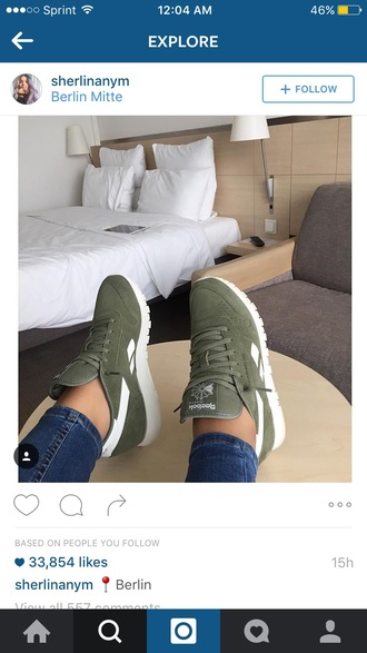 shoes reebok khaki sneakers reebok classic