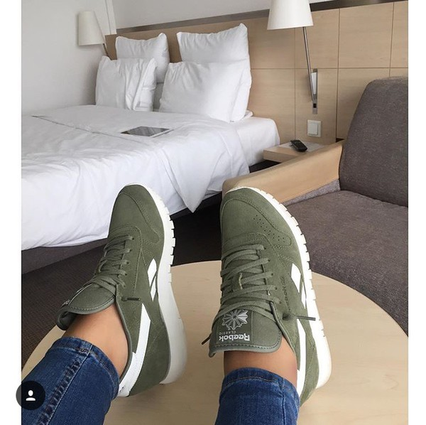 Khaki Classic Leather Suede Trainers
