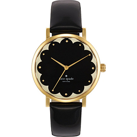 KATE SPADE - Metro gold-plated metal and leather watch | Selfridges.com
