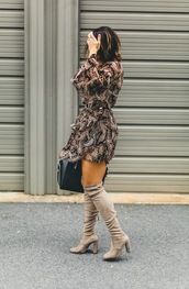 life & messy hair,blogger,dress,shoes,bag,jewels,belt,fall outfits,mini dress,boots,over the knee boots,handbag,givenchy bag