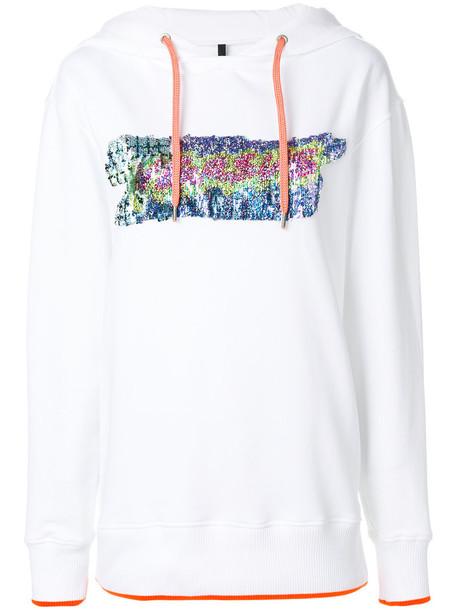 hoodie women embellished white cotton sweater