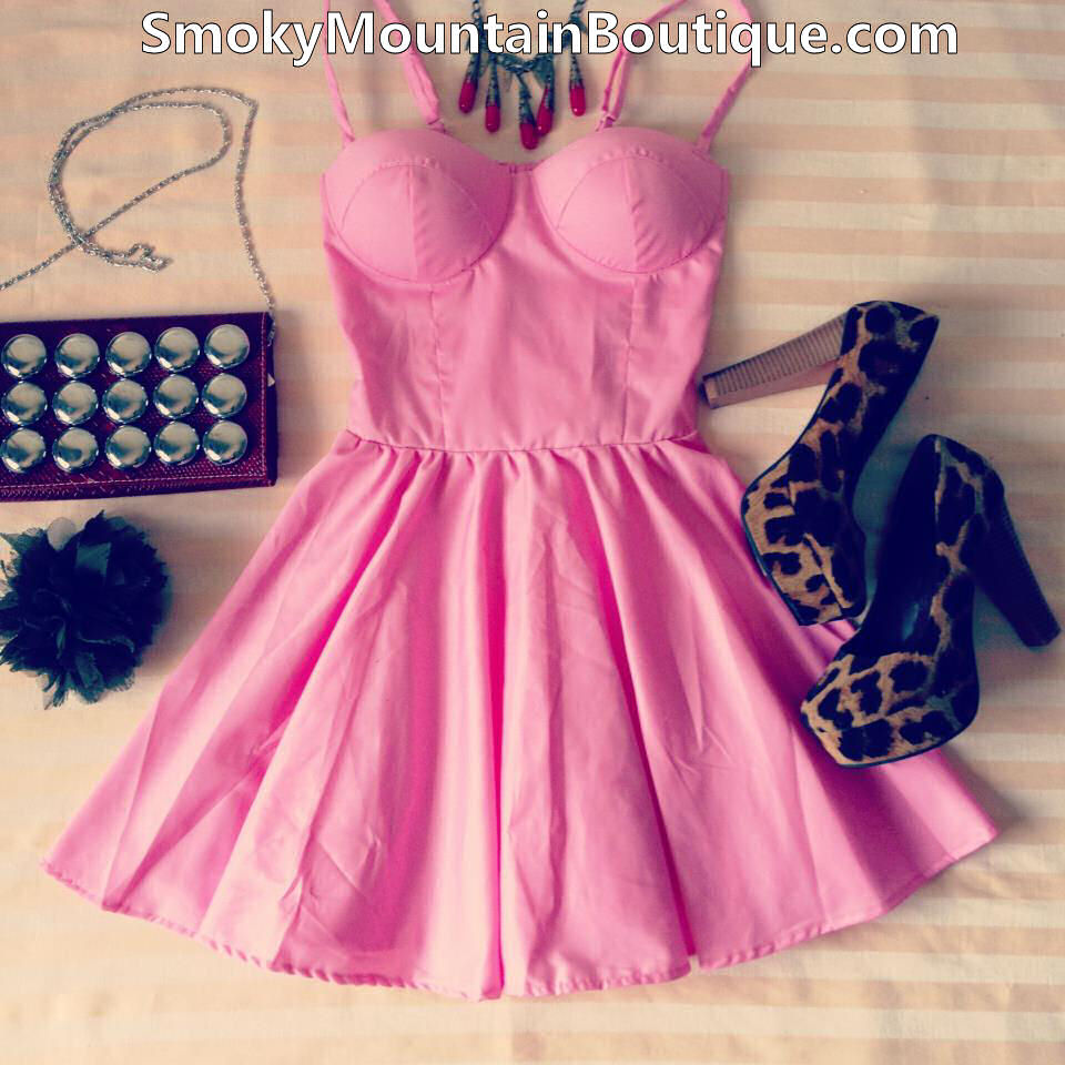 Sexy Pink Retro Bustier Dress with Adjustable Straps
