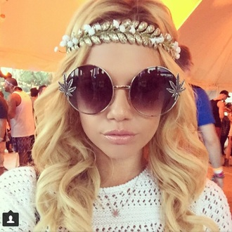 sunglasses glasses weed coachella hair accessory
