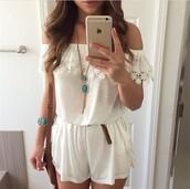 romper,jumpsuit,style,fashion,boho chic,dress,white dress,fancy dress,girly dress,vintage dress,jewels,bag,white   flat  shoulders  sexy  chiffon& lace   dress