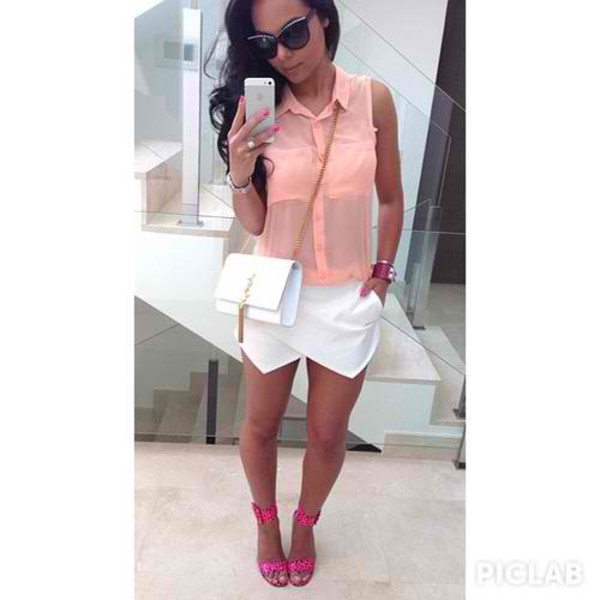 skirt white corail yves saint laurent pink blanc jupe