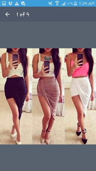 skirt maxi skirt slit maxi skirt slit skirt black brown white crop tops