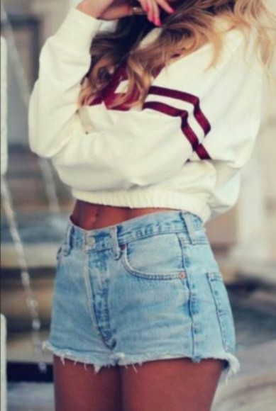 pullover High waisted shorts baseball top dope jeans