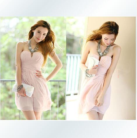 Sweet Pink Mini Chiffon Dress, Cute..