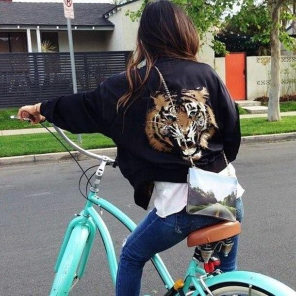 jacket tiger bomber jacket blogger black bag