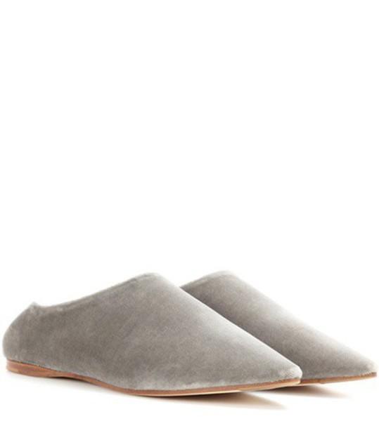 Acne Studios Amina Velvet Babouche Slippers in grey
