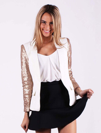 jacket white blazer skater skirt cream blazer sequin blazer cute blazer online shopping online store dressy blazer gold sequin sequin clothing