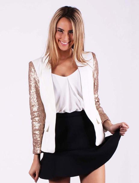 jacket sequin jacket cute blazer white blazer skater skirt online shopping online store cream blazer dressy blazer gold sequins sequin clothing