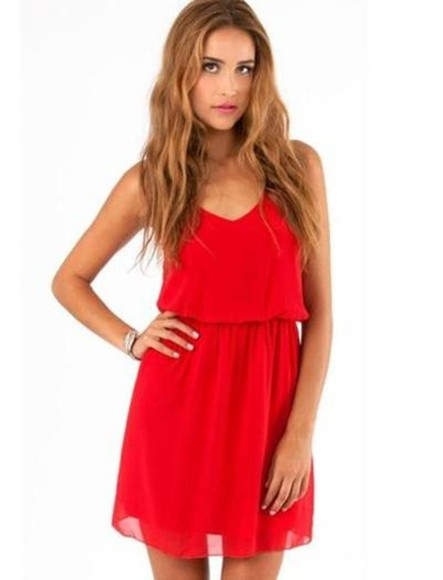 dress red red dress chiffon mini dress fashion cute sexy girly short dress skater dress