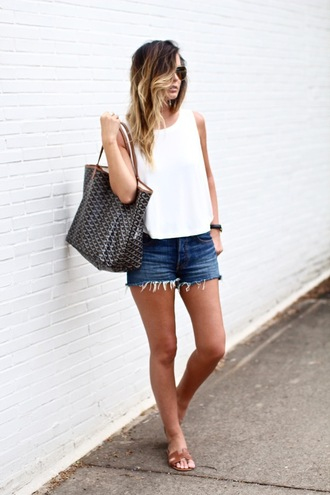 for all things lovely blogger top shorts shoes bag jewels sunglasses make-up aviator sunglasses sleeveless top white top frayed denim denim shorts blue shorts slide shoes hermes brown shoes summer outfits summer top