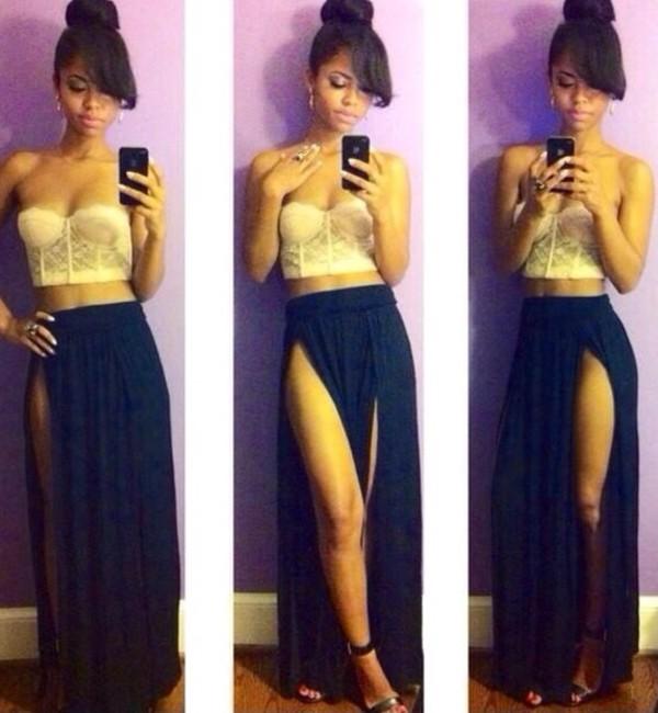 c5690dbc47d skirt maxi skirt slit skirt two slit black white sun crop tops summer  outfits tank top.
