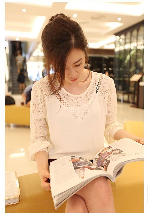 Korean Fashion Sweet Lace Hollow Chiffon Shirt