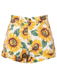 Sunflower print high waist denim shorts in white