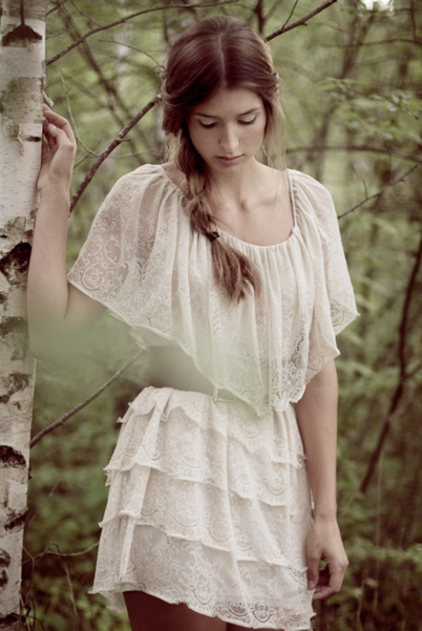dress romantic summer dress white dress collar lace dress