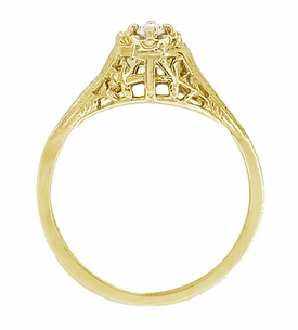 Art deco filigree petite diamond ring in 14 karat yellow gold