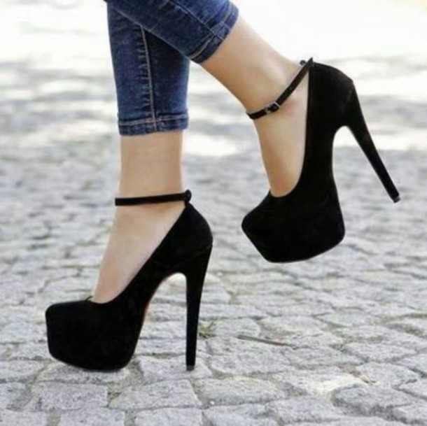 Shoes: black high heels black cute ankle strap heels high