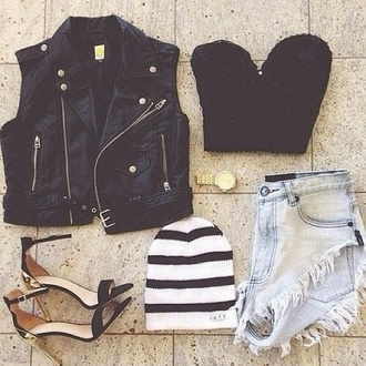 jacket black high waisted shorts black leather black leather jacket cropped jacket blue jean shorts high-waist jean shorts denim shorts shoes black and white black crop top crop tops