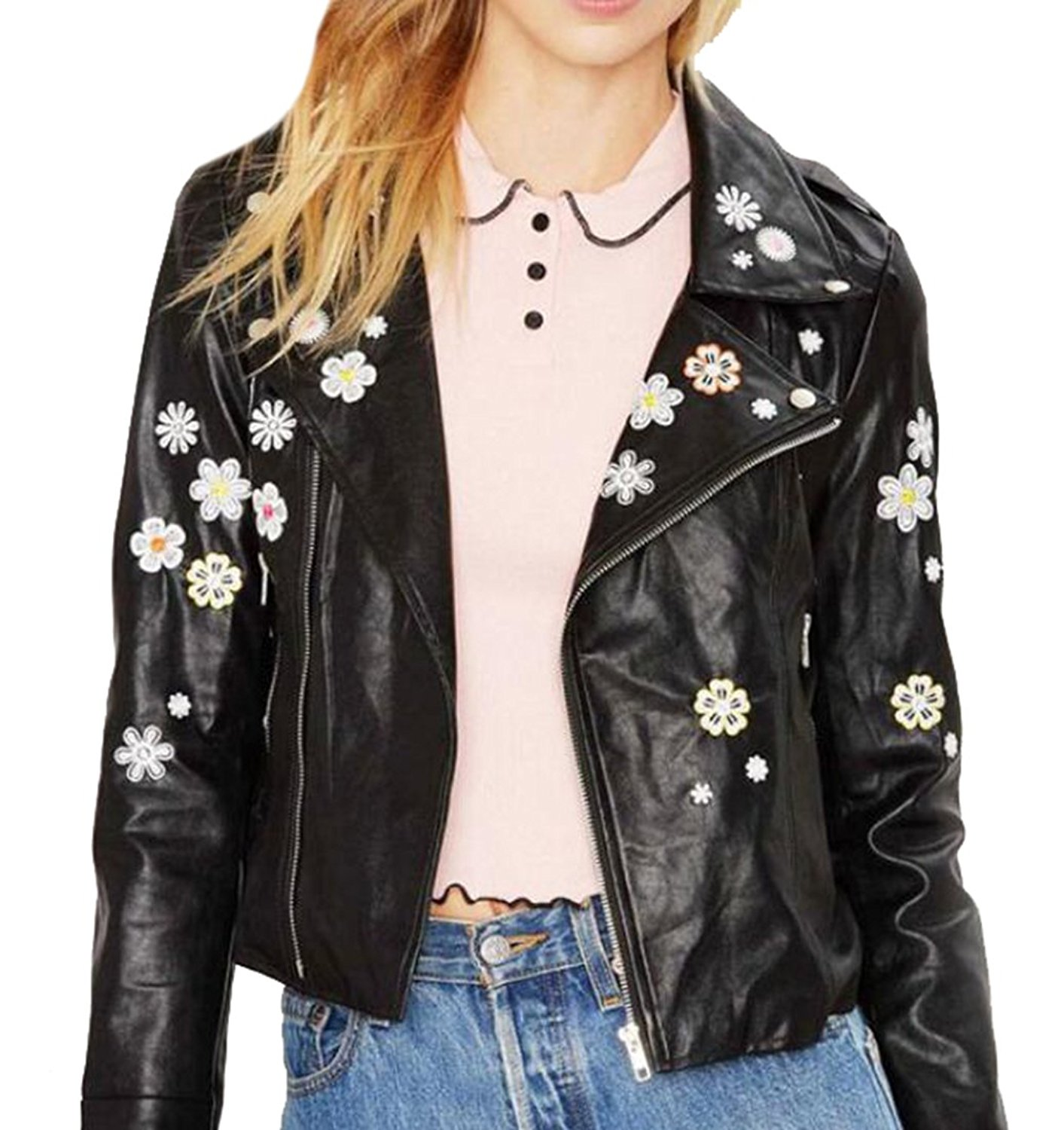 YUNY Women's Fashion Flower Embroidery Faux Leather Moto Jacket at Amazon Women's Coats Shop