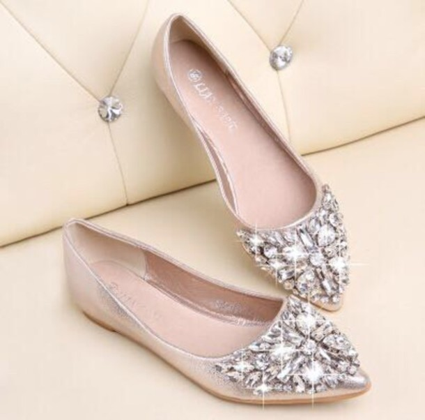 glitter pointed flat shoes