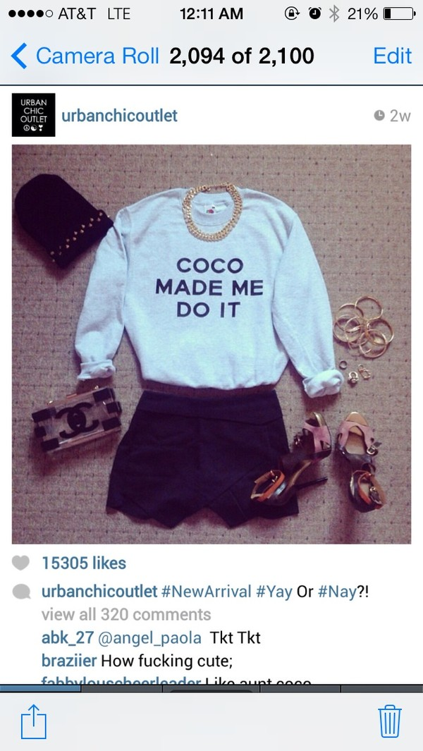 sweater coco sweater chanel purse bag shorts hat jewels shoes