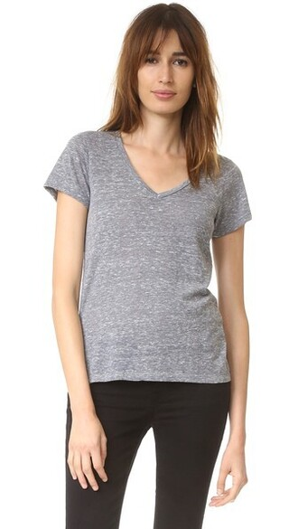 v neck grey heather grey top