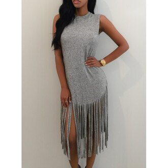 dress fringes sweater dress grey grey dress maxi dress casual urban dope swag instagram sleeveless