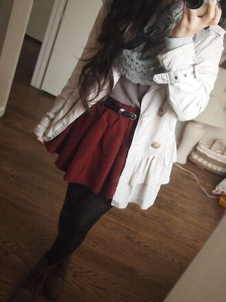 jacket white jacket tights grey scarf skirt scarf jeans blouse coat skater burgundy white coat winter coat winter outfits winter swag winter sweater red cute stylish tumblr tumblr outfit