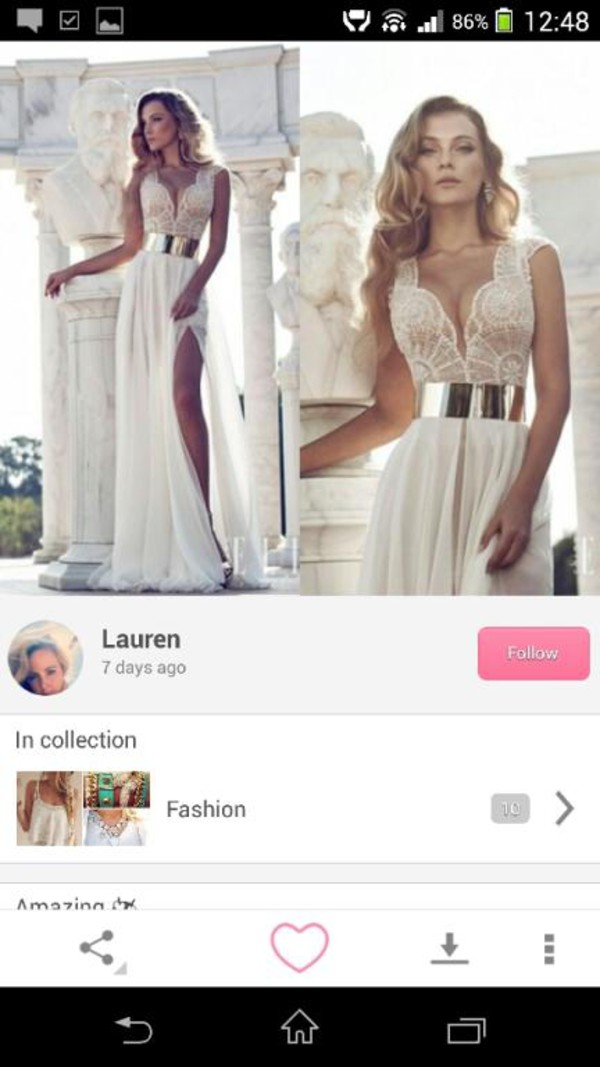 white dress dress slit dress maxi dress prom dress