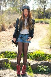 chloe ting,blouse,hat,shorts,bag,jacket,shoes