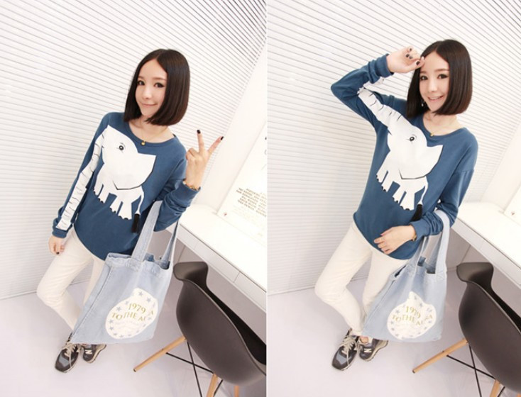 East Knitting Fashion OT 061 Women New 2013 Harajuku style sweatshirts animal Elephant pullovers girl  hoodies  free shipping-in Hoodies & Sweatshirts from Apparel & Accessories on Aliexpress.com