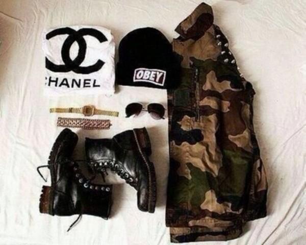 t-shirt hat jacket shoes jewels