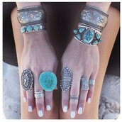 jewels,brackets rings indian bohemian,bracelets,ring,blue,real,stone,teal