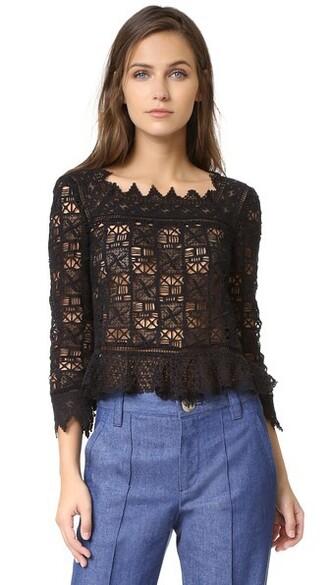 top lace top long lace black crochet