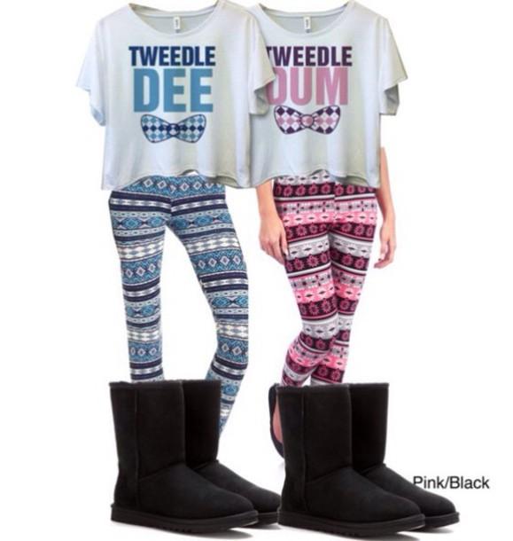 Shirt: bff shirts, bff, aztec, leggings, boots, matching ...