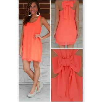 dress bowknot chiffon dress orange orange dress sleeveless dress sexy dress back bowknot lady fashion girly one piece one piece dress shoulder shoes beautiful party dress new arrival shirt shorts t-shirt coat clothes outfit best outfit sexy party dresses earrings high heels bows chiffon chiffon skirt suspenders skirt