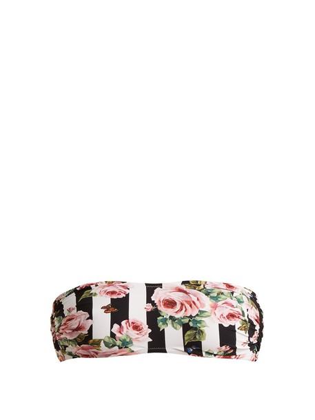 Dolce & Gabbana bikini bikini top bandeau bikini rose print black swimwear