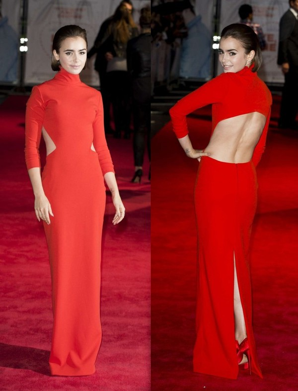 dress maxi dress red dress prom dress lily collins shoes