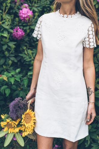 dress tumblr short sleeve dress white dress lace dress white lace dress mini dress