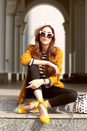 fashion coolture,blogger,jacket,sweater,beret,blazer,yellow heels,yellow jacket