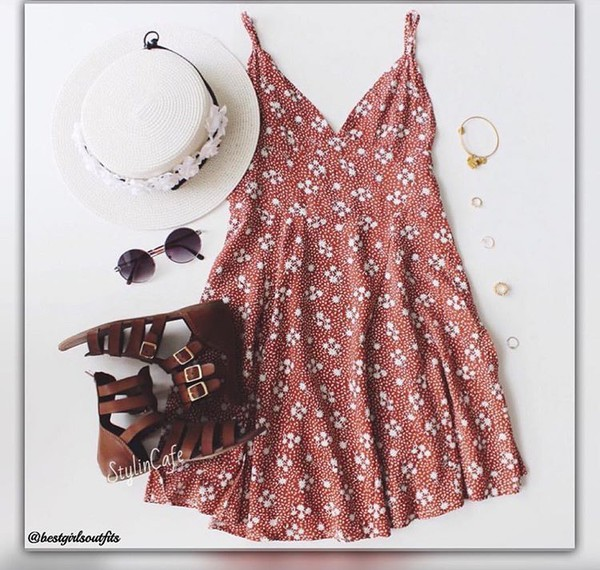 dress shoes sunglasses hat summer dress dusty pink mini dress outfit