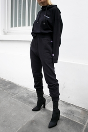 pants,tumblr,black pants,tracksuit,joggers,joggers pants,sports pants,sportswear,hoodie,black hoodie,champion,boots,black boots,sock boots,high heels boots,all black everything